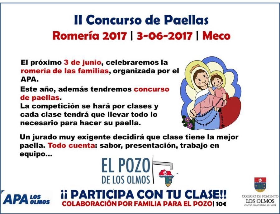 Cartel Romeria Concurso Paella 2017