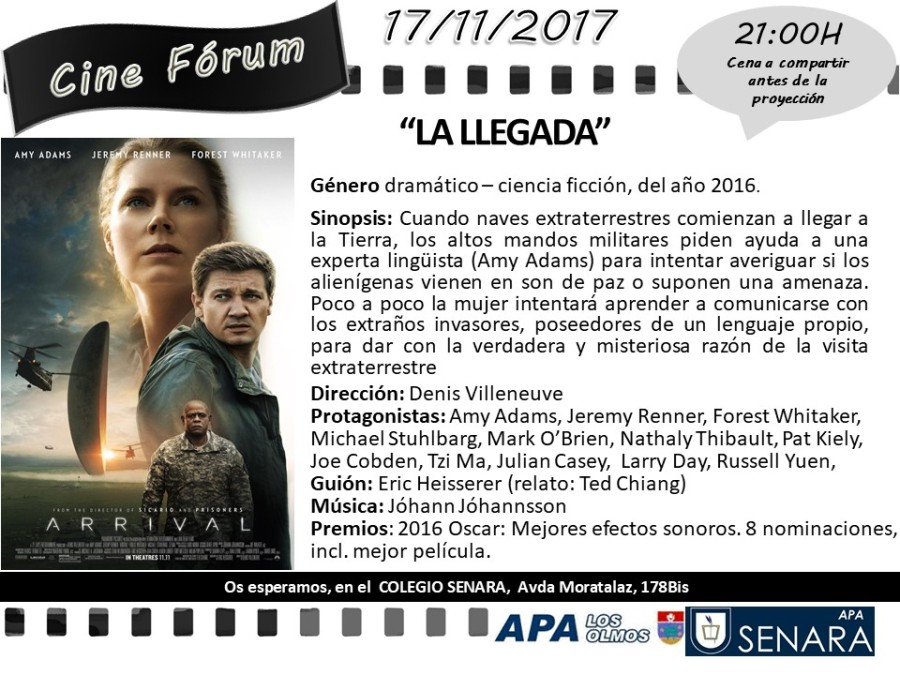 CARTEL Cineforum 2017-11 LA LLEGADA