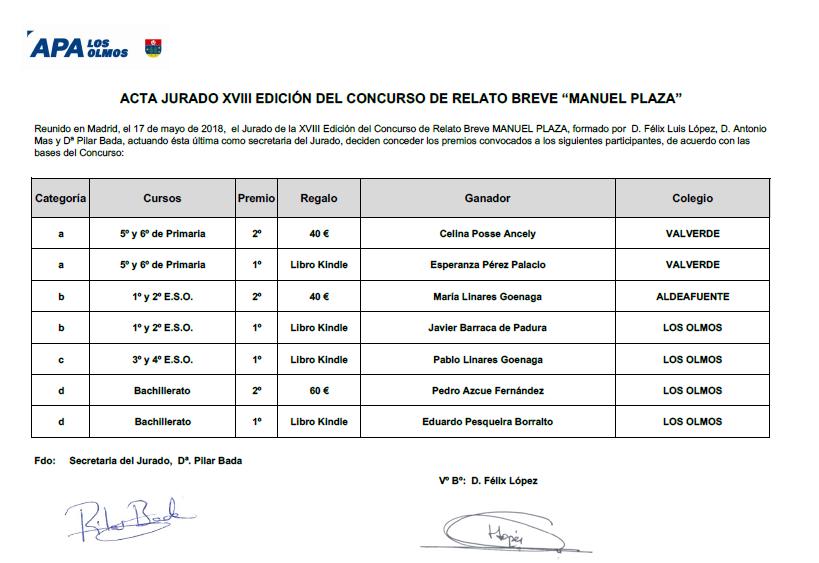 ganadores del concuro Manuel plaza 2018